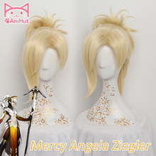 【AniHut】OW Mercy Wig For Women 35cm/13.78in Blonde Heat Resistant Hair Game OW Angela Ziegler Mercy Cosplay Wig Synthetic Hair