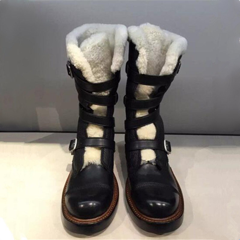Plus Size 34-41 100% Natural Wool Medium Heel Mid Calf Boots Genuine Leather Fur Buckle Women Cold Winter Snow boots Ankle Boots double buckle cross straps mid calf boots