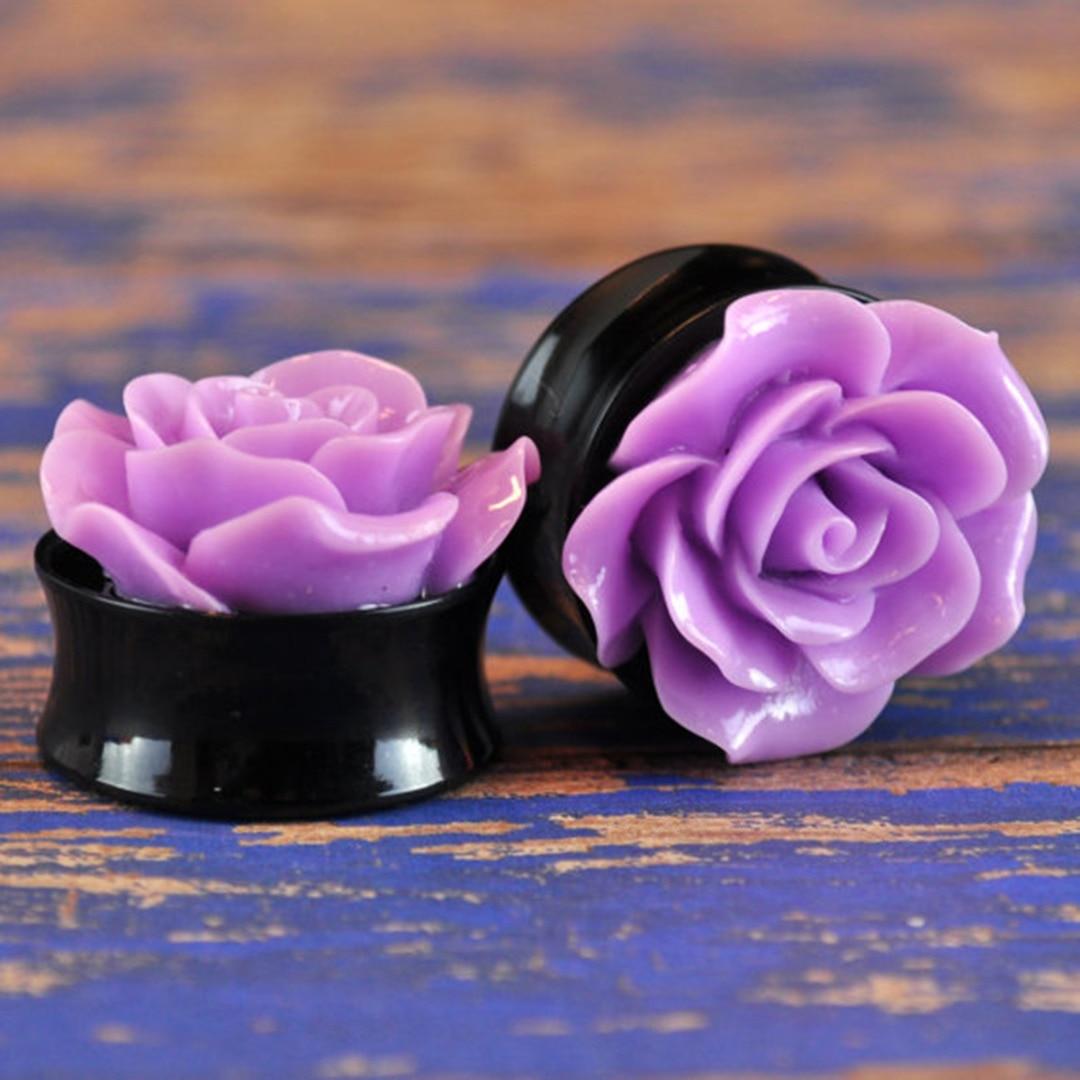 2pcs Beautiful Rose Flower Acrylic Ear Plug Tunnel Shellhard Gauge Ear Gauges Expander Body Piercing Jewelry For Women Bijoux