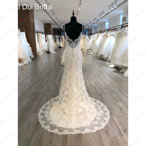 Image 2 - Spaghetti Strap odpinany spódnica z tiulu suknia ślubna koronkowa suknia ślubna