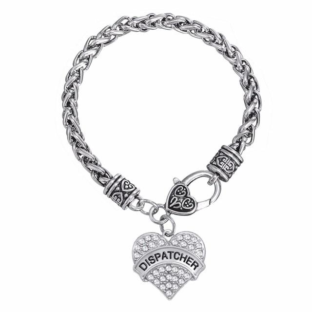 Fishhook Clear Crystal Dispatcher Heart Zinc Alloy Antique Silver