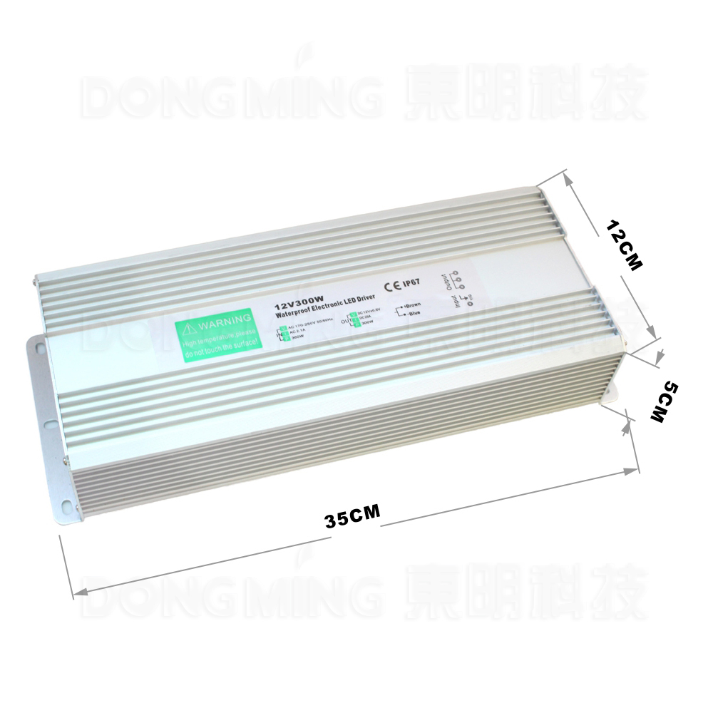 DC12V 25A 300W AC110~260V Power Supply Converter IP67 Waterproof LED Driver Outdoor Usage led adapter Free fedex