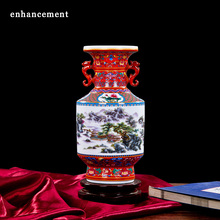 European style Palace Ceramic Vase Enamel Antique Classical Household Adornment Handicraft Furnishing Articles