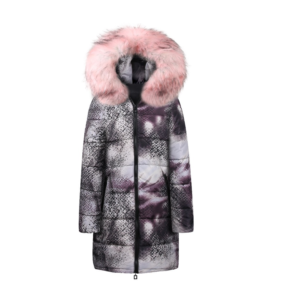 2019 Animal Print Faux Fur   Parkas   Women Down Jacket Long Winter Jacket High Quality Womens Winter Jackets Coat Warm
