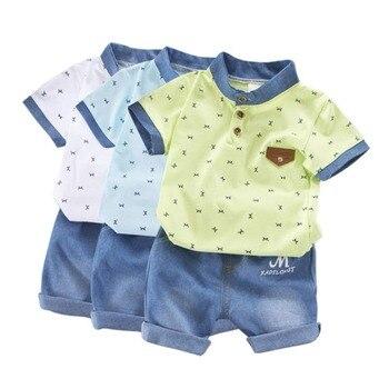 Áo bé Trai Mùa Hè Sơ Sinh Trẻ Em quần áo đặt ra cho Cậu Bé ngắn Tay Áo Sơ Mi + Jeans Mát quần short denim Phù Hợp 2 miếng