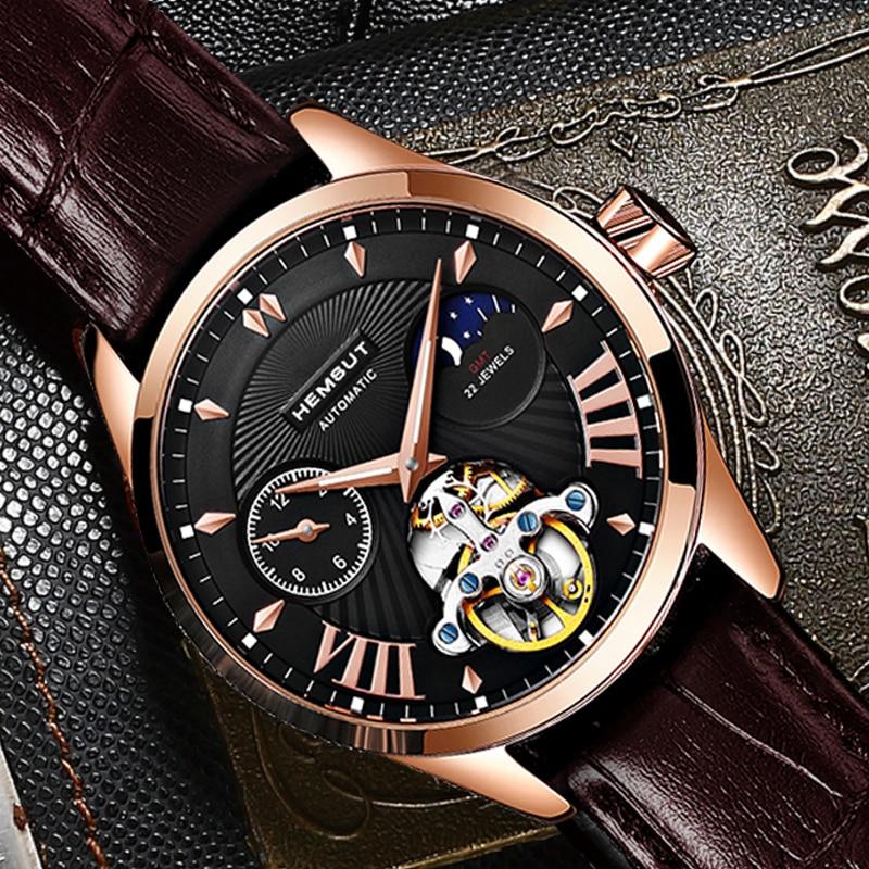 Hemsut Luxury Top Brand Mechanical Watches Men 316L Steel Case Brown Leather Automatic Wrist Watch Male