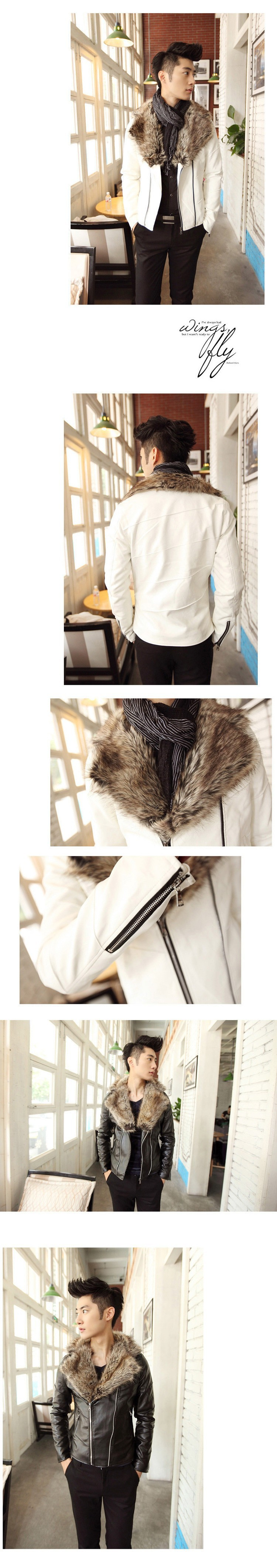 Leather jacket men fur coat biker jacket motorcycle 2015 fashion famous brand slim men leather jacket with fur collar4