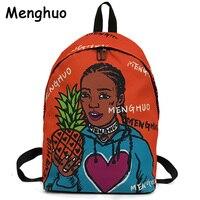 Menghuo личность для женщин рюкзаки полный ранцы с принтом 3D Рюкзак Школьная Сумка для обувь девочек Женский походный рюкзак Mochila