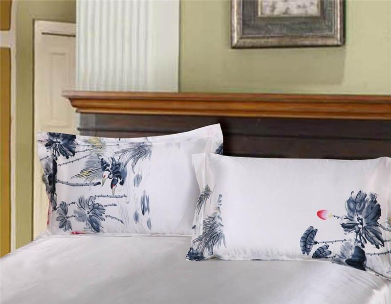 Juego de cama de seda satinada edredón cubre colchas doble reina tamaño king dormitorio decoración pintura china flor de LOTO - 2