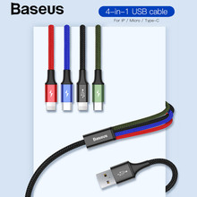 Baseus 4 in 1 USB Cable Multi Charger Cable for iPhone Xs Max XR 8 7 Samsung Galaxy S9 S8 for Micro USB Type C Charger Data Cord