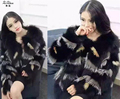 Women's Winter Real Fox Fur Coats Natural Red Fox Fur Overcoat Genuine Silver Fox Fur Short Jacket For Female 160906-2