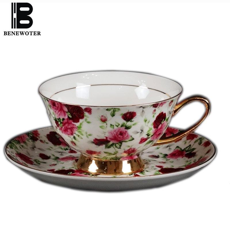 180ml Vintage Pastoral Flower Painted Ceramic Bone China Coffee Cup with Saucer Kit | Water Milk Tea Mug Drinkware with Spoon
