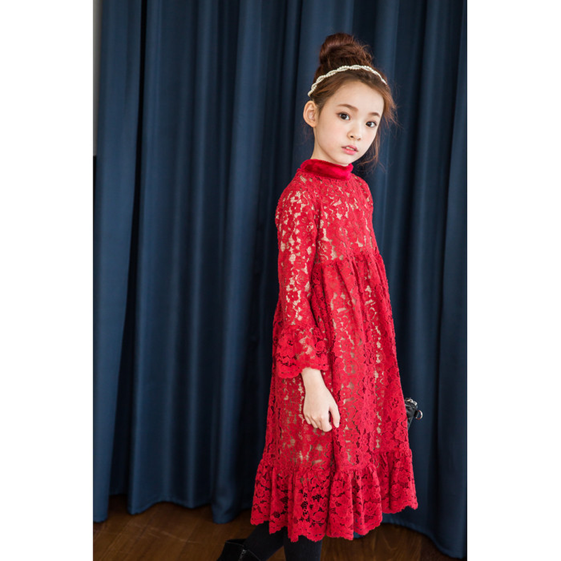 Lace New Year Fleece Red Mother Daughters Dresses Beautiful Family Matching dress Childrens ClothingLace New Year Fleece Red Mother Daughters Dresses Beautiful Family Matching dress Childrens Clothing