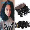 4 Bundles with frontal Indian Hair Body Wave Human Hair Bob Indian Virgin Hair Bundle Deals Lace Frontal Closure with Bundles