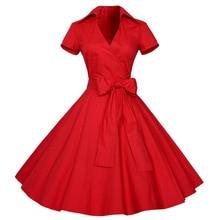 4XL plus size 2016 New Summer Women Retro Vintage Pin Up Dresses 50s 60s Polka dots Cotton Dress Short sleeve Vestido de fiesta
