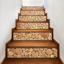 3D Stacked logs Wood Pattern Wall Tile Stairs Stickers Removable Pvc Sticker Waterproof Mural Poster for Room Stairway