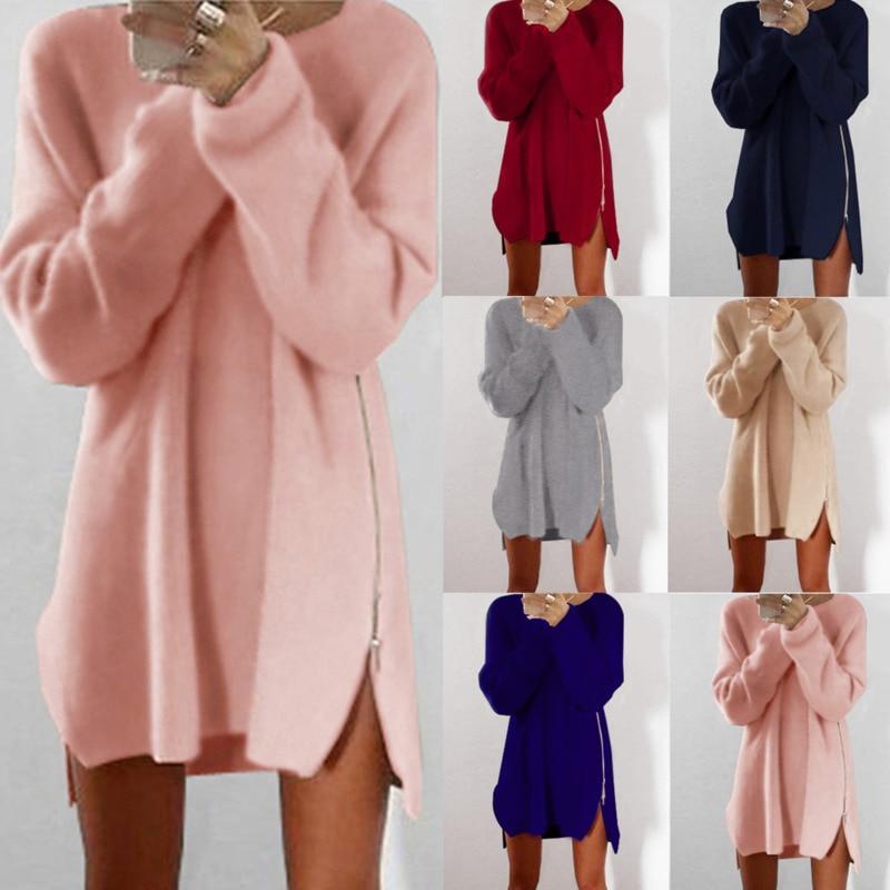 2018 Long Sleeve Sweater Dress O Neck Casual Side Zipper Irregular Hem Winter Clothes Women Loose Pullover Kardigany Damskie Wy*