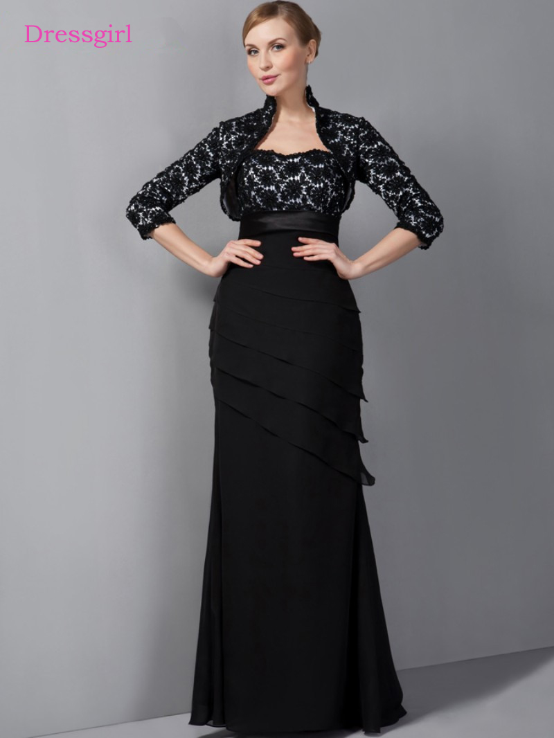 Black 2019 Mother Of The Bride Dresses Mermaid Sweetheart Chiffon Lace Plus Size Long Elegant Groom Mother Dresses Wedding