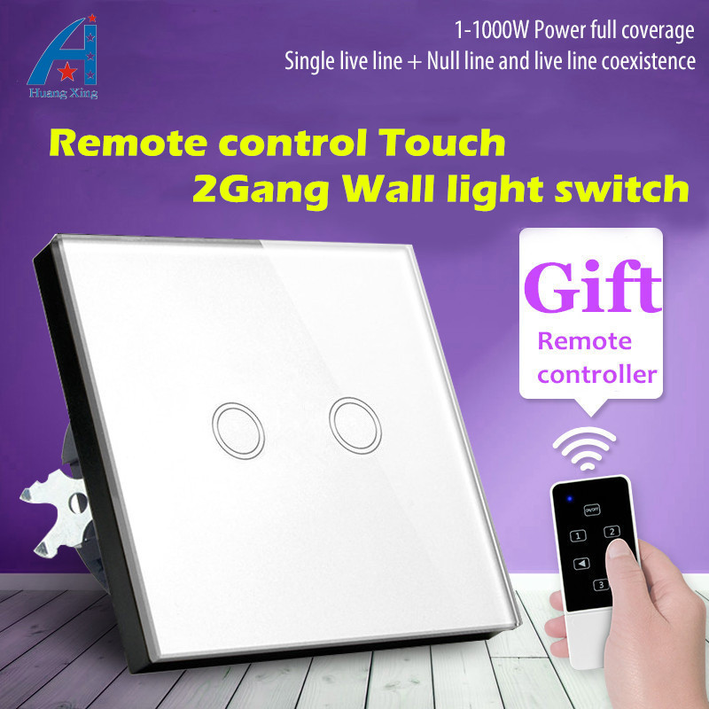 HUANGXING, EU Standard 2Gang1Way Wireless Remote Control wall switch, Tempered Glass panel Touch Switch, 1000W 220V light switch wall light free shipping 2 gang 1 way remote control touch switch eu standard remote switch gold crystal glass panel led