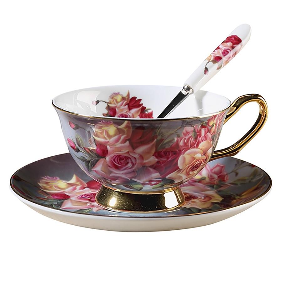 European Ceramic Coffee Cup Set Reusable Espresso Cups High Tea Water Cup Crockery Bone China Cup Tazzine Caffe Home 50Q011