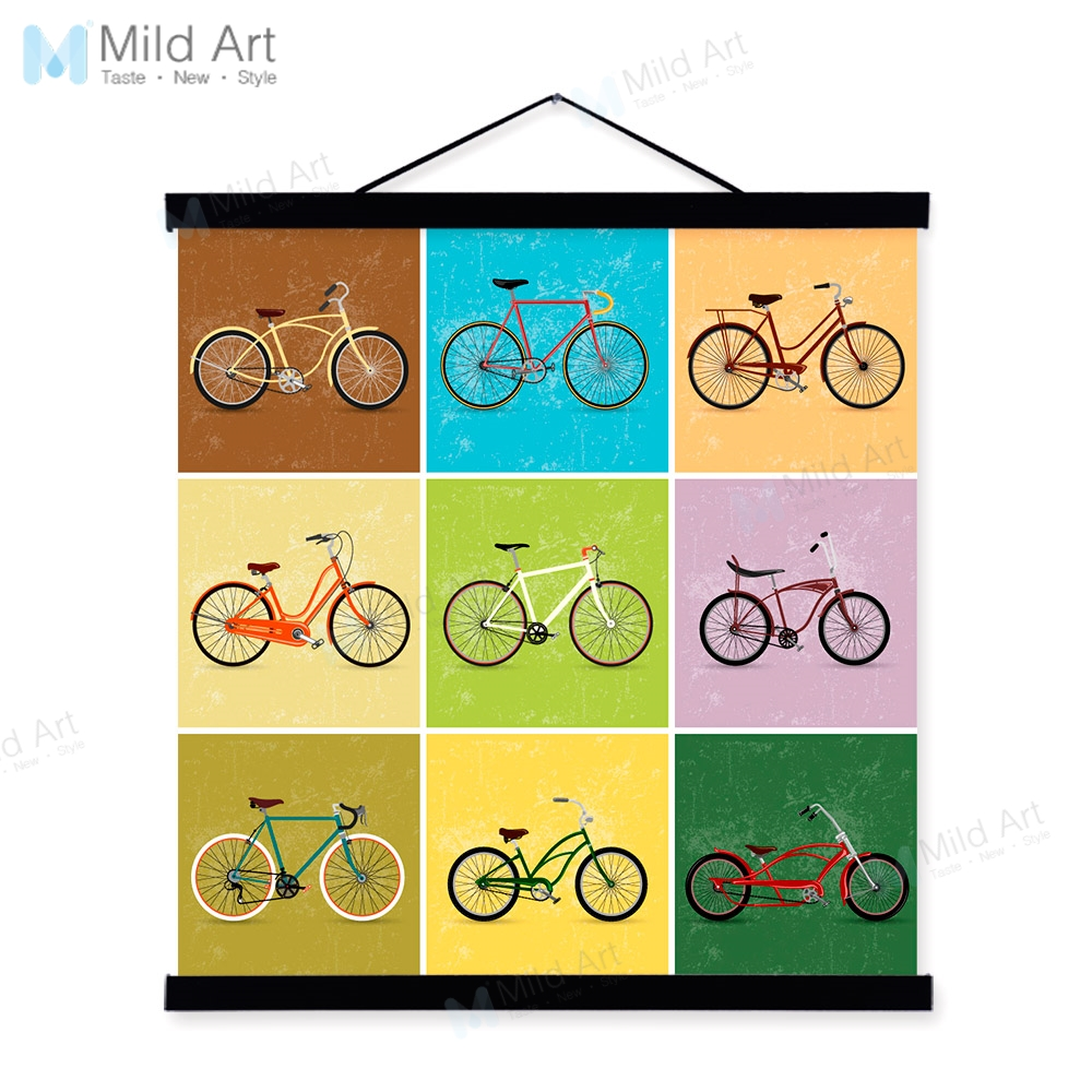 Vintage Retro Color Bike Bicycle Wooden Framed Hanger Poster Living ...