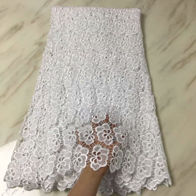 Newest African Chemical Lace Fabric Water Soluble White Nigerian Guipure Wedding Dress African Lace Fabric High