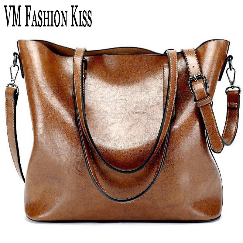 ФОТО VM FASHION KISS PU Oil Wax Leather Retro Women Bag Large Capacity Tote Bag Big Ladies Shoulder Bags Famous Brand Bolsas Feminina