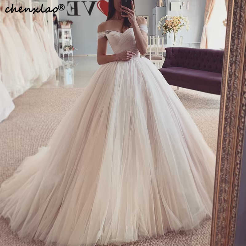 Simple Wedding Dresses Off The Shoulder Pleat Beaded Ball Gown