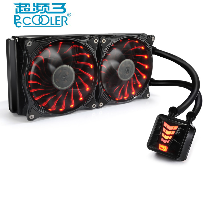 Pccooler water cooling CPU cooler for AMD Intel 775 1150 1151 1155 1156 CPU radiator 120mm RGB 4pin cooling CPU fan PC quiet quiet cooled fan core led cpu cooler cooling fan cooler heatsink for intel socket lga1156 1155 775 amd am3 high quality