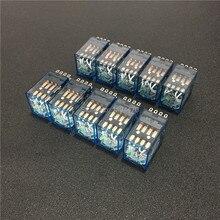 10 pcs MY4NJ DC 12 V 24 V 110 V 220 V AC Coil Power Relay Algemene Purpose Mini Relais 14 Pins 4NO 4NC LED Indicator 5A HH54P MY4N J