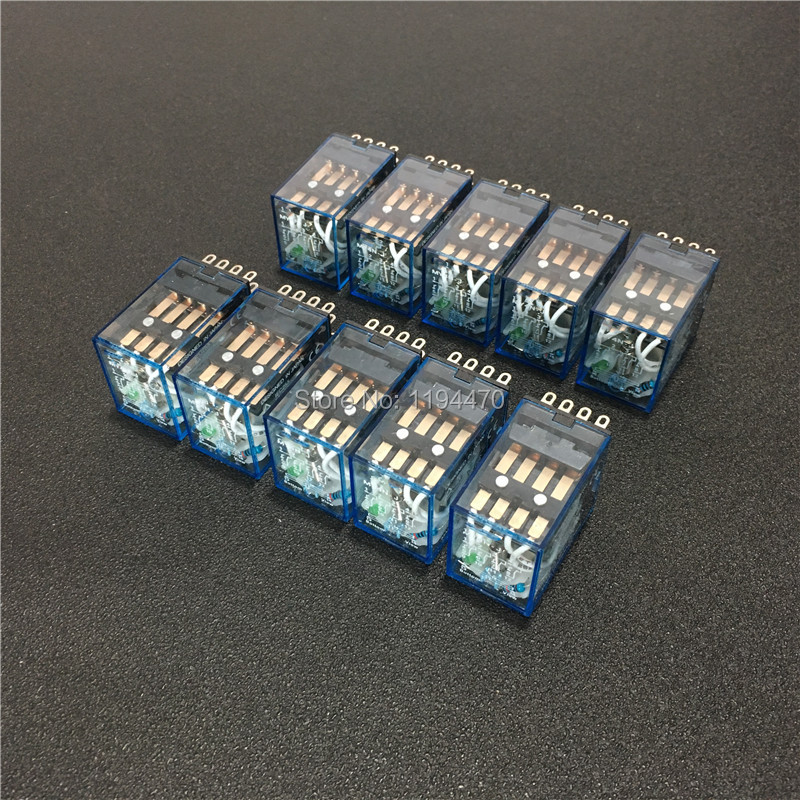 10pcs MY4NJ DC 12V <font><b>24V</b></font> 110V 220V <font><b>AC</b></font> Coil Power Relay General Purpose Mini Relays 14 Pins 4NO 4NC LED Indicator <font><b>5A</b></font> HH54P MY4N-J image