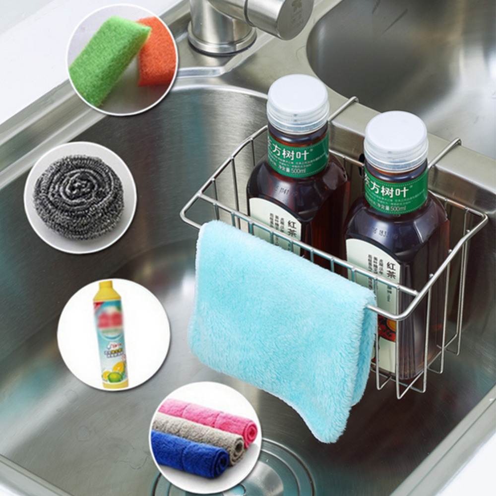 1Pc Stainless Steel Sink Shelf Soap Sponge Drain Rack Shelves ...