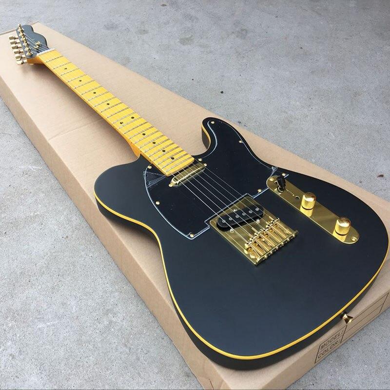 Trasporto libero wholsale guitarra elettrica guitarra TL/colore nero accessori Dorati l'immagine reale