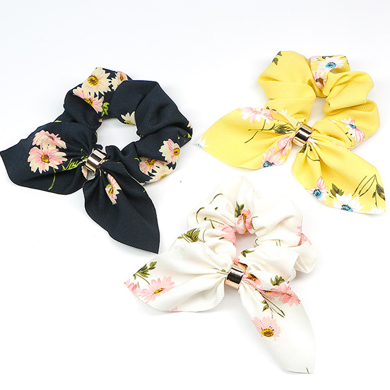 Women Scrunchie Ponytail-Holder Hairband Hair-Accessories Bow Knot Flower Candy-Color