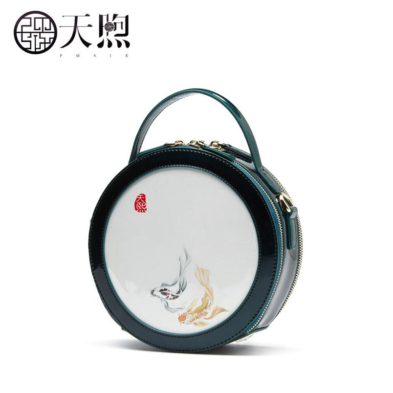 Pmsix new fashion printing luxury handbags women bags designer Printed round small bag Leather bag women handbags shoulder bag