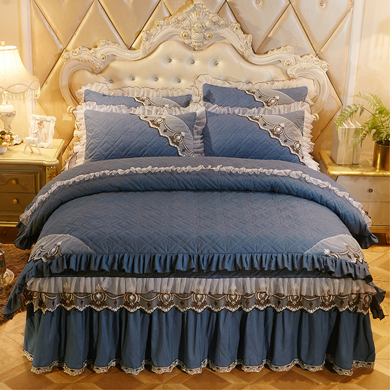 4pcs Bedding Set Luxury European Bed Set Thick Cotton Duvet Cover, Bed Skirt, Pillowcases Solid King Queen Size Bedding Sets4pcs Bedding Set Luxury European Bed Set Thick Cotton Duvet Cover, Bed Skirt, Pillowcases Solid King Queen Size Bedding Sets