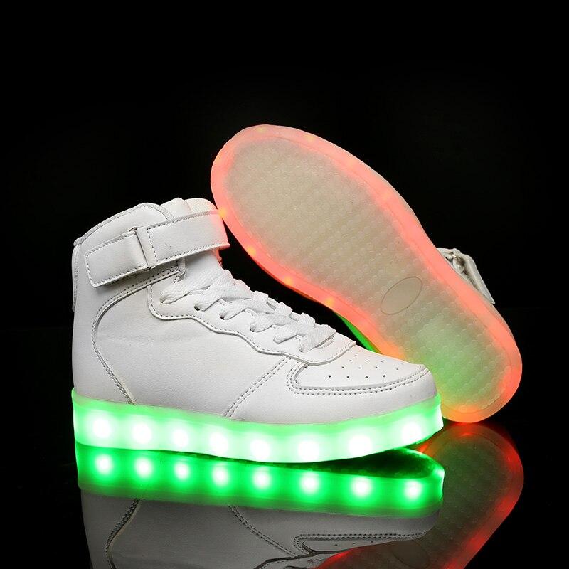 Simulação Carga Luminosa Superior Casuais Preto Botas Levou Agradável De Casal Sola Homens branco Alta vermelho Mens Neon Acende Coreanos Adultos Sapatos Unissex wqq7IOx
