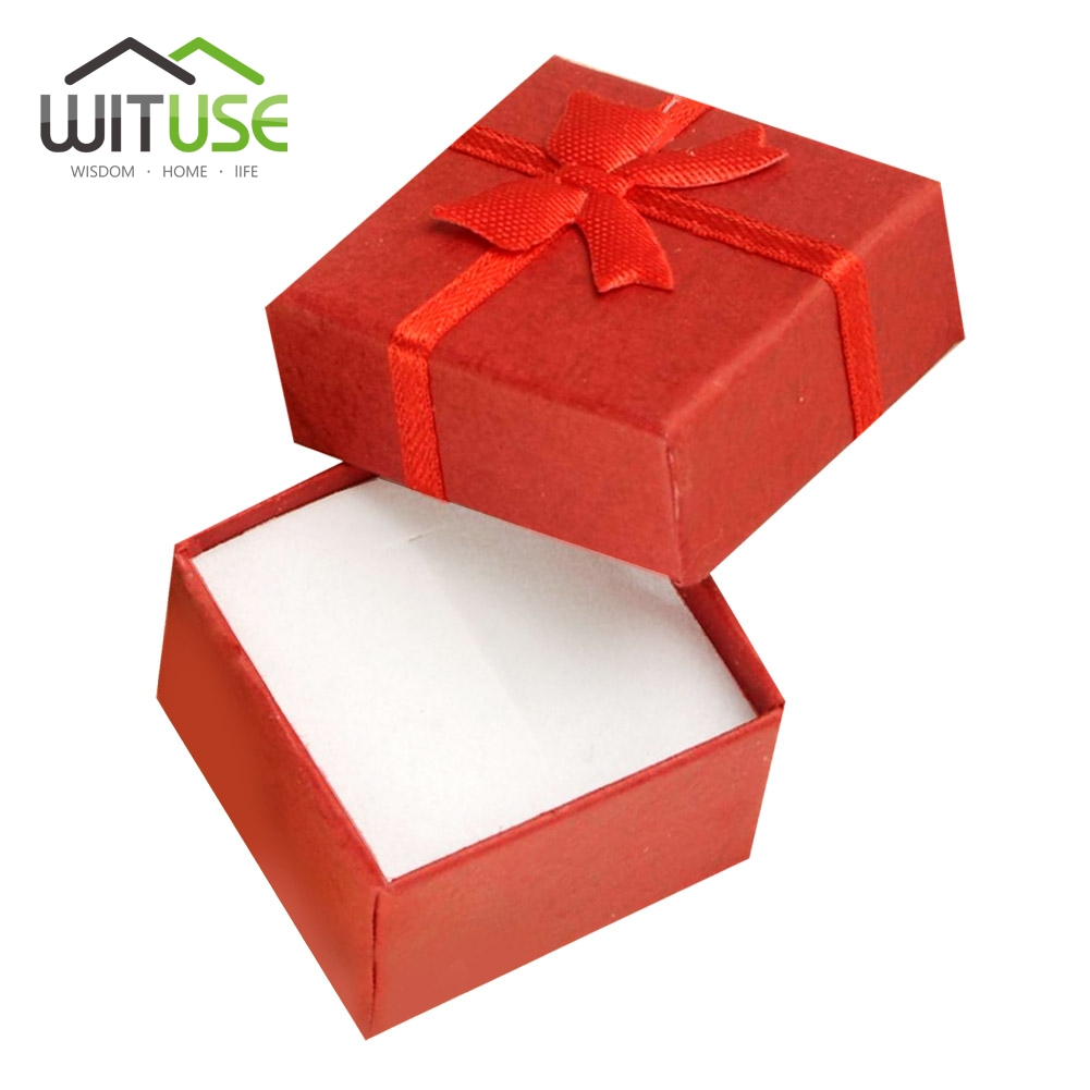 11.11 Cheap 4*4*3cm Jewelry Ring Earring Bracelet Ring Small Gift Box Black Square Carton Bow Case