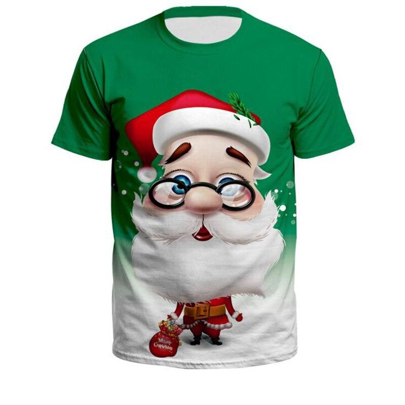 Camiseta de Navidad para hombre y mujer, divertida Camiseta con estampado 3D de Santa Claus, camiseta de verano a la moda de manga corta, ropa informal estilo hip hop, camiseta