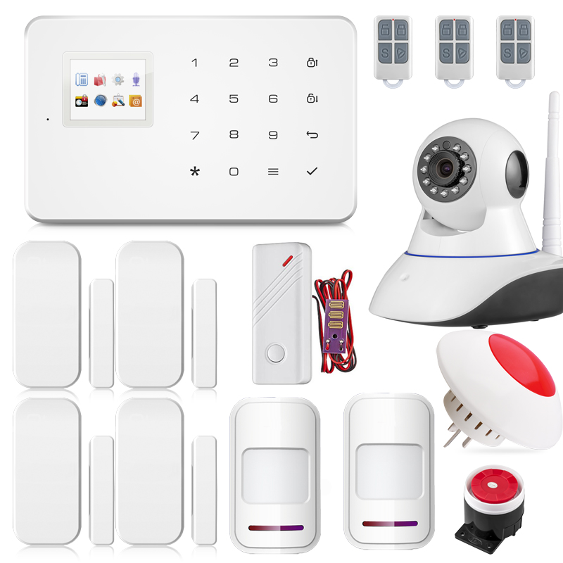 Android ISO app Wireless GSM Text Home Alarm System Smart IP Security Camera with PIR Sensor Door gap Smoke Detector kerui w2 wifi gsm home burglar security alarm system ios android app control used with ip camera pir detector door sensor