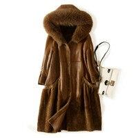 Real Fur Coat Genuine Leather Jacket Natural Fur Wool Coat Fox Fur Collar Autumn Winter Jacket Women Clothes 2019 Korean ZT1225