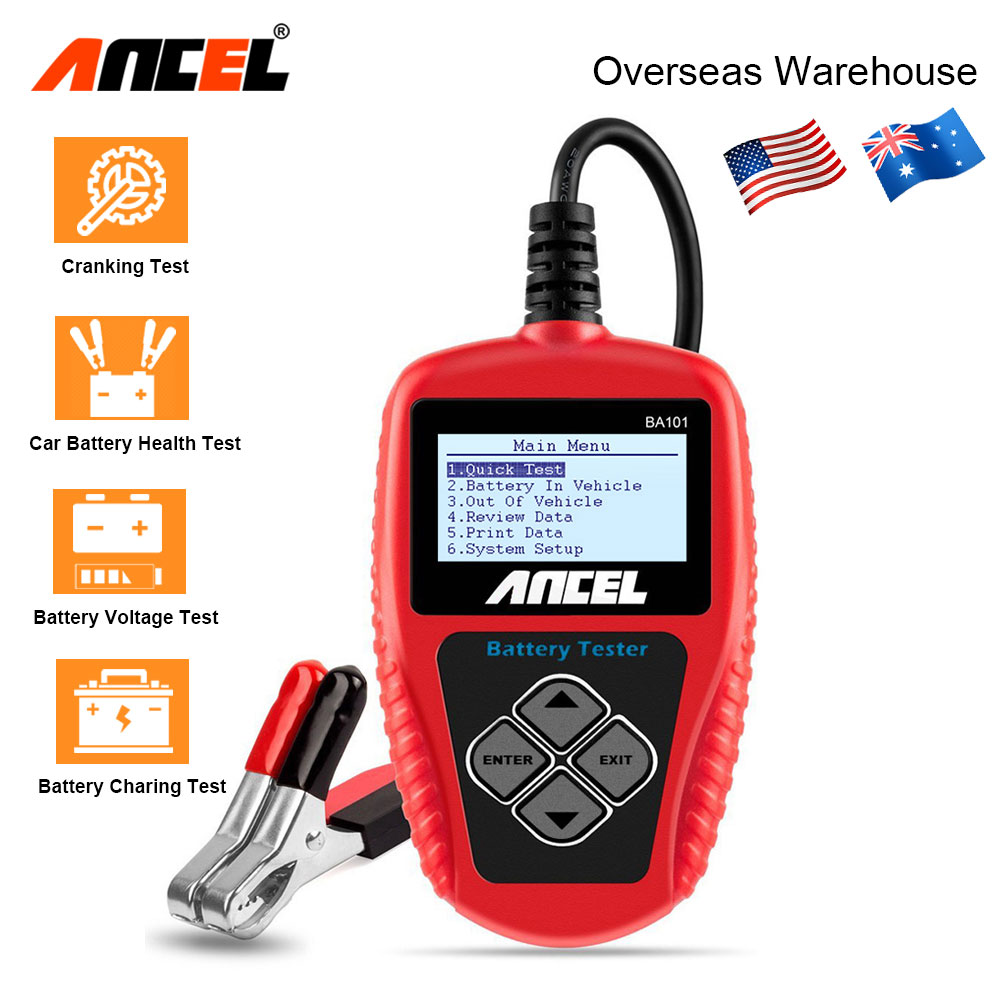 Ancel BA101 12V Digital Battery Tester Analyzer 100 2000CCA 220AH with Japanese Korea