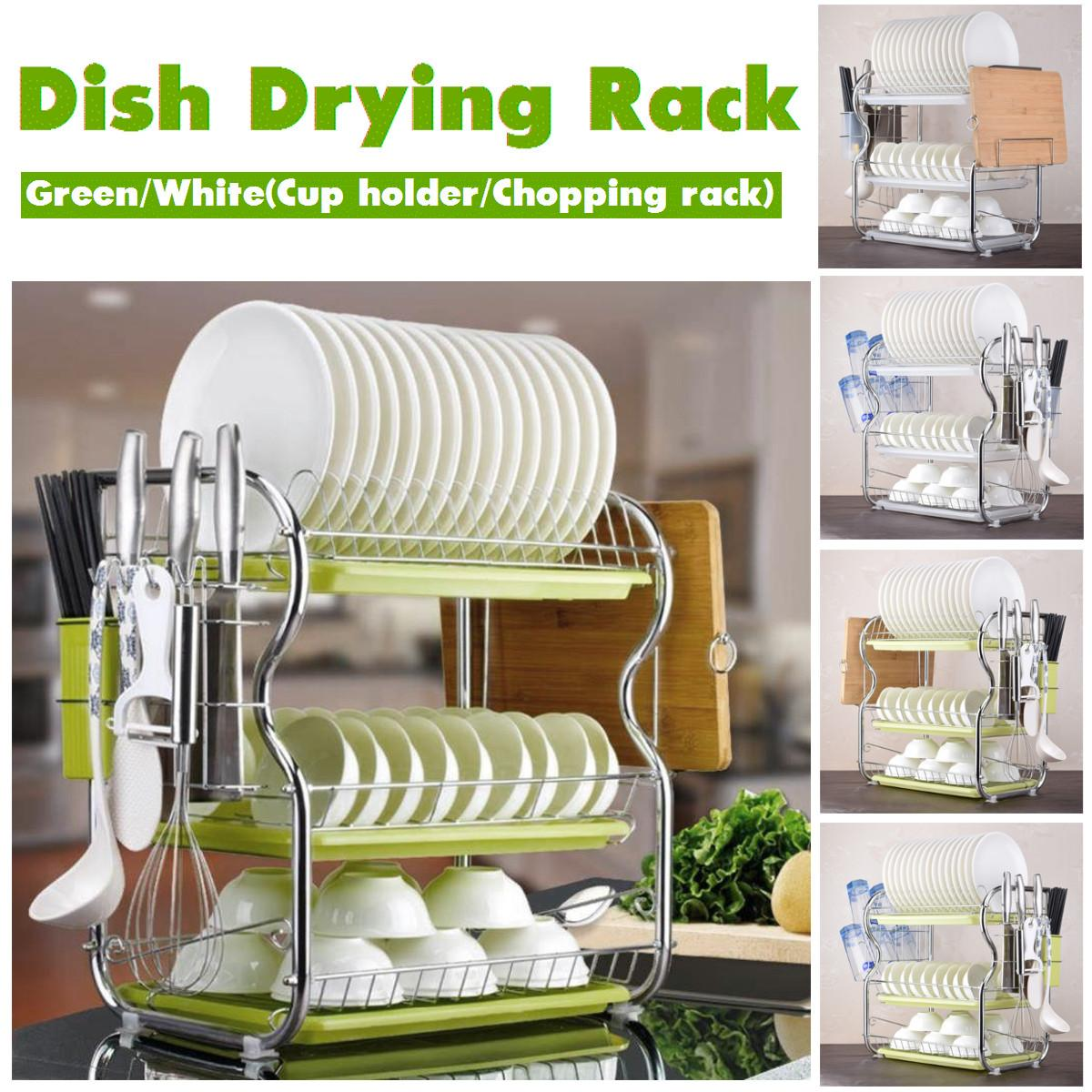 3 Tiers Dish Drying Rack Kitchen Washing Holder Basket Plated Iron Kitchen Knife Sink Dish Drainer Drying Rack Organizer