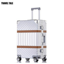 TRAVEL TALE silver black red retro travel case ABS PC spinner trolley luggage bag travel suitcase on wheel(China)