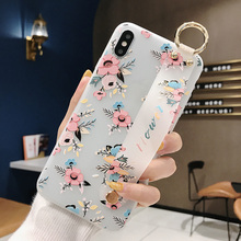 Floral Case with Wrist Strap for Samsung s8 s8 plus s9 s9 plus TPU Matte Case for Samsung Note 8 Note 9 S10 S10 Plus Soft Cover