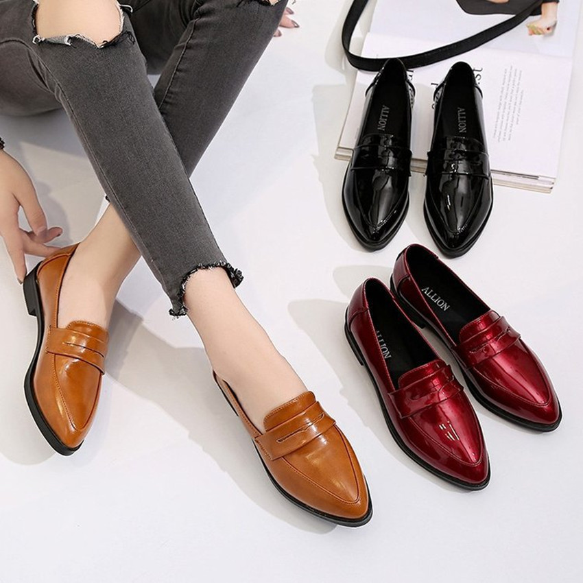 Brand women flats loafers patent leather solid fashion slip on shoes girls basic pointed toe black red orange female sewing shoe