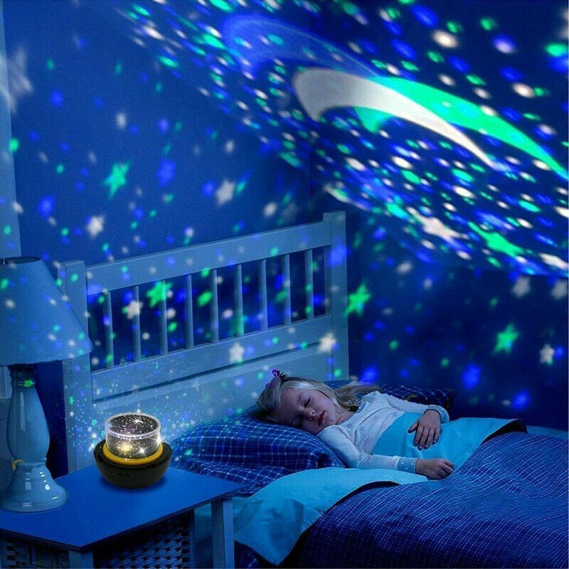 Kids Night Light Projector Lamp 360 Rotating Starry Planet Lamp for Bedroom Gift with 5 Sets Film HVR88
