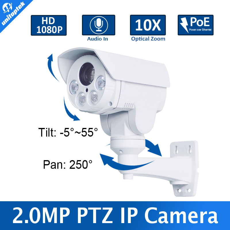 1080P 2.0MP Bullet 10X Optical Zoom Motorized Lens Mini PTZ Bullet IP Camera,With Poe,Alarm in,Audio in,Built-in SD Card Slot 1080p 5 inch 10x optical zooming lens mini ptz ip camera