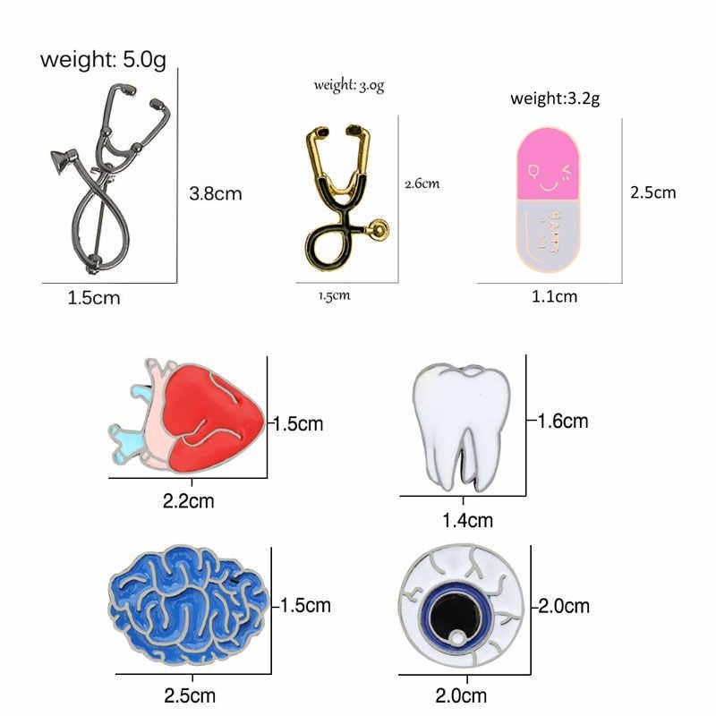 Os desenhos animados médicos esmalte pinos broches para médico enfermeira dentista estetoscópio cápsula dente órgão coração globo ocular cérebro broche jóias