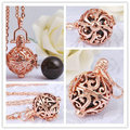 H127 Pregnancy Belly Chime Necklace Rose Gold Cage With 18mm Harmony Bola Dream Ball Pendant Baby Caller Chain Necklace